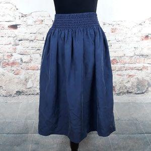 Talbots XL Navy Blue 100% Silk Full Circle Skirt